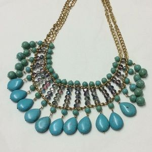 Turquoise stones gold statement necklace new